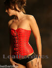 Red Leather Overbust Gothic Corset Steel Boned Studs Buckles