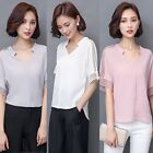 Womens V-neck Loose Solid Tops OL Office Lady Short Sleeve Casual T Shirt Blouse