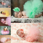 Newborn Baby Girl Flower Headband+ Tutu Skirt Photo Prop Photography Costume AR