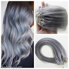 Sliver Grey Loop Micro Ring Beads Tipped 100% Remy Human Hair Extensions 100S