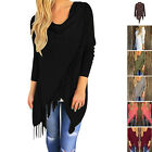 New Casual Women Long Sleeve Solid Tassel Slash Blouse Tops Shirt Blouse SEAU