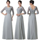 Women's Floral LACE Long Dress Bridesmaid Evening Party Prom Ball Gown Grey New_