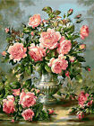 Pink Roses In Urn Beautiful Hand Painted Design Needlepoint Canvas 123