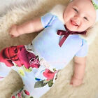 Rose Flower Baby Girl Outerwear Newborn Bodysuit T-shirt +Pants+Band Outfit Sets