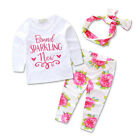 3Pcs Cotton Baby Girls Rose and Letter Outwear Jumpsuit Top + Trouser + Headband