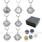 Chic Aromatherapy Diffuser Chakra Lava Stone Alloy Locket Pendant Chain Necklace