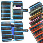 Vintage Stripes PU Leather Wallet Case Cover Sleeve Holder fits Komu Phones