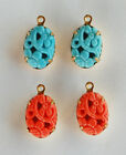 VINTAGE JAPANESE PEKING GLASS OVAL PENDANT BEADS • Turquoise, Orange • 14x10mm
