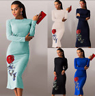 Women's Embroidery Bodycon Cocktail Party Evening Long Sleeve Ladies Midi Dress