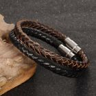 Men's 6MM Black Braided Leather Magnetic Bracelet Stainless Steel Wristband Gift