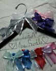 Wedding Dress Hanger Bride Name with date your choice of 12 bow colors Dark