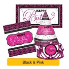 BLACK & PINK Birthday Party Range - Tableware Balloons Banners & Decorations