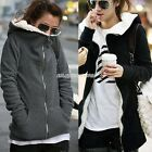 Korea Women Hoodies Coat Warm Zip Up Outerwear Sweatshirts Colors Black Gray