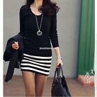 Women Ladies Round Neck Striped Cocktail Party Evening Pencil Mini Dress EN24H