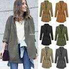 Women Batwing Sleeve Front Open Outwear Jacket Tunic Casual Windbreak Coat EN24H