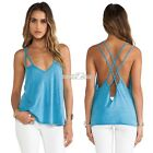 Casual Summer Tops Tank Strap Women Vest Camisole Backless Cross Shirt Blouse