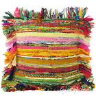 "12"" Yellow Chindi Rag Rug Decorative Pillow Cushion Throw Cover Boho Indian Bohe"