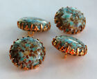 VINTAGE GLASS BUTTONS BRASS LARGE BIG CHUNKY • 20mm • TURQUOISE, YELLOW MATRIX