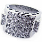 Mens 14K White Gold Fn Lab Diamond Cluster Accent Wedding Pinky Silver Ring