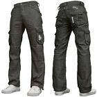 Enzo Mens Designer Branded Cinch Back Cargo Combat Grey Jean
