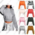 New Womens Elasticated Hem Long Sleeve Short Sweatshirt Crop Jumper Pullover Top