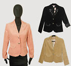 Womens Black Pink Beige Corduroy Cotton Beaded Pearl Jacket Blazer sz S M L NWT