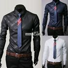 new Men Luxury Casual Formal Shirt Long Sleeve Slim Fit Business Dress Shirts T