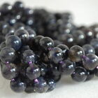 "Grade A Natural Lolite (Purple Blue) Gemstone Round Beads - 4, 6, 8mm 16"" strand"