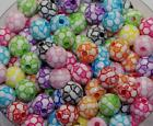 10mm Acrylic Beads Mixed Color Round Bead Jewelry Accessories Football 50x DF76