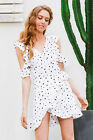 New fashion women Ruffles dot print summer casual Vintage off shoulder Dresses