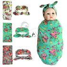 Newborn Baby Kid Floral Swaddle Blanket Headband with Bow Receiving Blankets Set