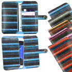Vintage Stripes PU Leather Wallet Case Cover Sleeve Holder for Logicom Phones