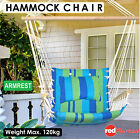 Hammock Hanging Swing Armrest Chair + Cushion Indoor Outdoor Camping Stripe Blue