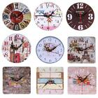 Crop Rustic Wooden Wall Clock Antique Shabby Chic Retro Home Kitchen Decor