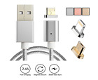 ANDROID MAGNETIC MICRO USB CHARGER NYLON BRAIDED DATA SYNC CABLE SAMSUNG ADAPTER