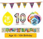 AGE 10 - Happy 10th Birthday Party Balloons, Banners & Decorations