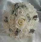 Wedding Flowers Bridal Ivory Silver Grey Feathers Bridesmaid Corsage Buttonholes