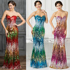 Sequins Mermaid Wedding Evening Gown Dress Bridesmaid Cocktail Party Long Dress;