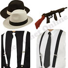 MENS GANGSTER PIMP HAT TIE BRACES & INFLATABLE TOMMY GUN FANCY DRESS COSTUME