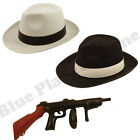 MENS GANGSTER PIMP MAFIA HAT & INFLATABLE TOMMY GUN FANCY DRESS COSTUME