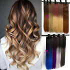 Hair Extensions Half Full Head Clip in Dip Dye Ombre Real Thick Feel as Human