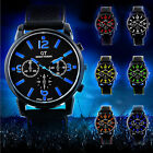 Mens Fashion Black Analog Quartz Sport Wrist Watch Stainless Steel Silicone
