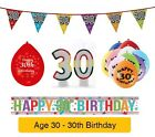 AGE 30 - Happy 30th Birthday Party Balloons, Banners & Decorations