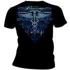 Erazor Bits Men's Graphic Apparel T Shirt NURSING SILVER WINGS FOIL Black