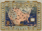 Early Pictorial Map The Game Fish Cyclopedia Fishing Fishermen Gifts Wall Poster