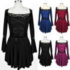 Victorian Vintage Lace Up Gothic Punk Ruffles Sleeve Tunic Shirt Top Blouse PLUS