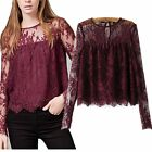 Womens Floral Floral Lace Mesh Long Sleeve Swing Blouse Tops Shirt Light Weight