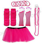 COMPLETE NEON TUTU SET GLOVES LEGWARMERS BEADS NECKLACE BANGLES BRACELET 80S