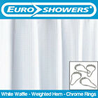 Euroshowers White Waffle Fabric Shower Curtain with Chrome Rollerball Rings