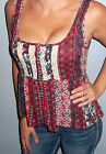 New Bohemian PATCHWORK Tank BABYDOLL Top LACE CROCHET Shirt Boho Small